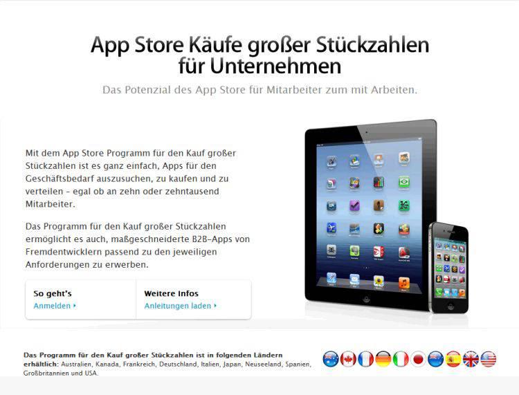 Webseite von Apple's VPP-Programm