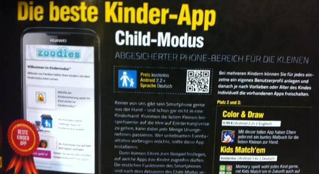 Androidmag.de wählt Zoodles zur besten Android Kinder-App - Screenshot aus Magazinausgabe November 2012 -