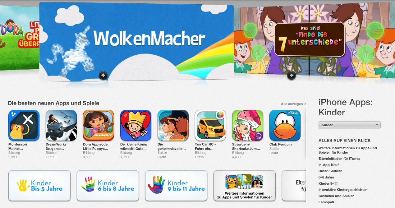 Apple App Store – Kategoriebereich Kinder